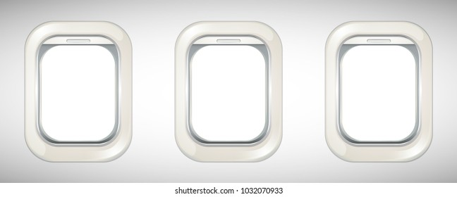 Three airplane windows with screen open illustration