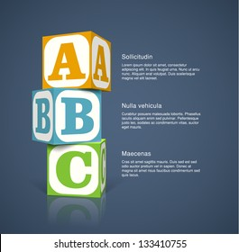 Three alphabet cubes with letters. EPS10 vector background.