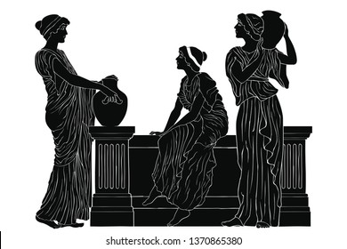 Three ancient Greek women are talking near the parapet with jugs. Vector image isolated on a white background.