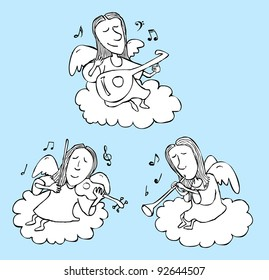 Three Angels Playing Musical Instruments