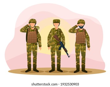 Three army men are standing in camouflage combat uniform saluting. Men are standing and greeting with weapon and bulletproof vests on the street. Flat cartoon vector illustration