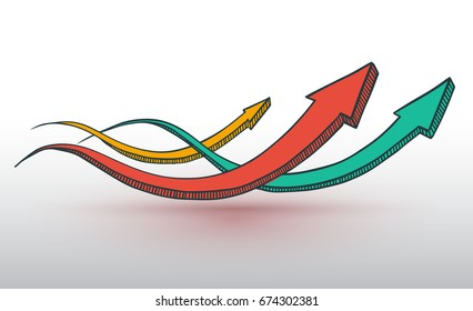 Three arrows hand drawn style for business concept. Vector illustration.