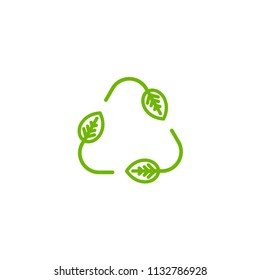 Three arrows with leaves eco recycle icon. line pictogram isolated on white. Vector reuse  illustration.  Green flat outline leaves. Leaf ecology circle symbol