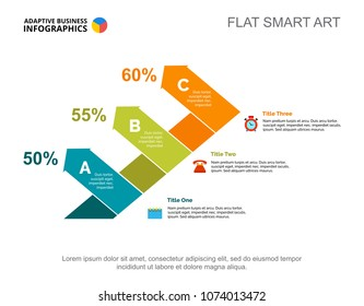 Three arrows percentage chart template for presentation. Business data. Abstract elements of diagram, graphic. Progress, idea, statistics or marketing creative concept for infographic, project.