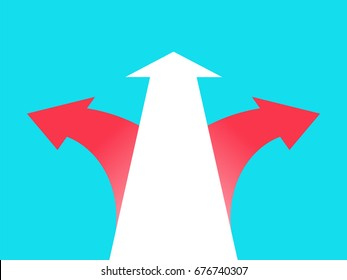 Three arrows pointing in different directions. Choice the way concept. Vector illustration in trendy style