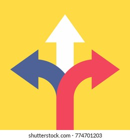 Three arrows pointing in different directions. Choose the way concept. Vector