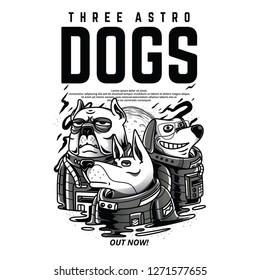 Three Astro Dogs Black and White Illustration