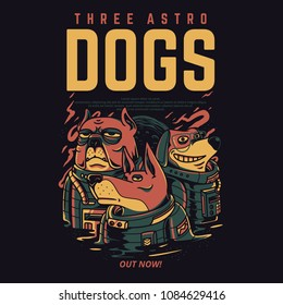 Three Astro Dogs Illustration
