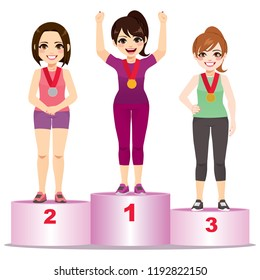 Three athlete women first second third place standing on podium
