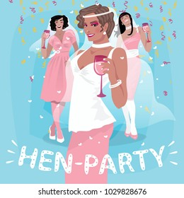 Three attractive young girls in pink wedding dresses welcome. Invitation to hen party or bachelorette party concept. Simplistic realistic cartoon art style. Vector illustration
