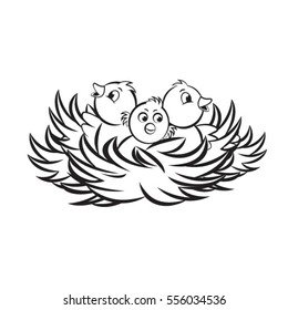 three baby birds in nest in black outline-vector drawing