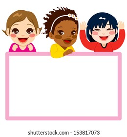 Three baby girls of different ethnicities with a pink frame white billboard
