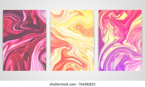 Three backgrounds with marbling. Marble texture. Paint splash. Colorful fluid. It can be used for poster, card, brochure, invitation, cover book, catalog. Size A4. Vector illustration eps10