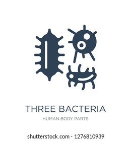 three bacteria icon vector on white background, three bacteria trendy filled icons from Human body parts collection, three bacteria vector illustration