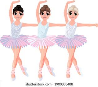 three ballerinas on a white background