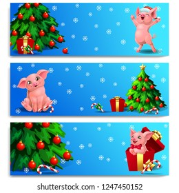 The three banners with cute pink pig with wood landscape, fir-tree, gift and candy cane. A vector illustration in cartoon style