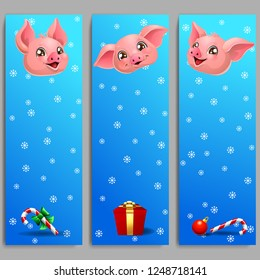 The three banners with cute pink pig with gift and candy cane on blue and showflakes. A vector illustration in cartoon style