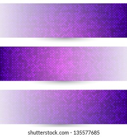 Three banners with halftone design. On white background.