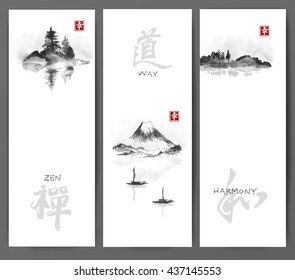 Three banners with islands in fog, Fujiyama mountain and two fishing boats on white background. Traditional Japanese ink painting sumi-e. Contains hieroglyphs - happiness, zen, way, harmony