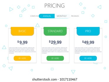 Three banners. Pricelist, hosting plans and web design boxes of banners. Banners for tariffs and price lists. Web elements. Plan the hosting. design for a web application.