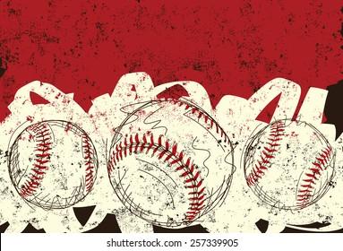 Three baseballs. Sketchy, hand drawn baseballs over an abstract background.