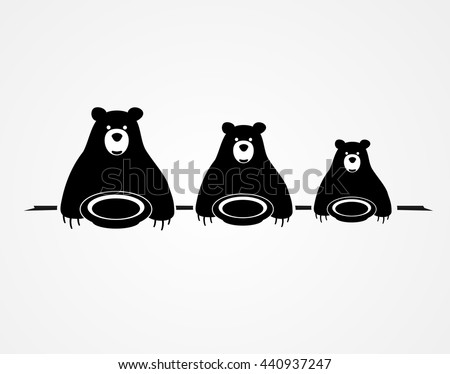 Three bears are sitting at the table with plates