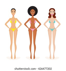 Three Beautiful African Caucasian American Women in swimsuit Summer Beach Vacation
