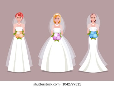 Three Beautiful Brides in Different Wedding Dresses. Vector Set 2 of 2