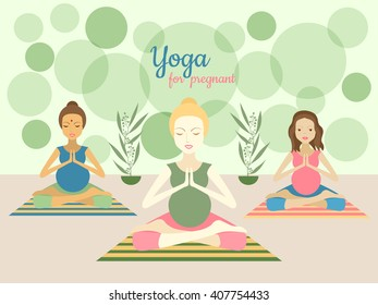 Three beautiful pregnant women practicing yoga exercises in gym. Vector illustration