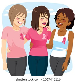 Three beautiful young friends women with pink ribbon breast cancer awareness concept