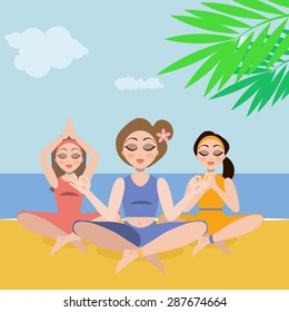 Three beautiful young girls doing healthy yoga sports  on a sunny day on the beach, meditating under palm tree leafs.