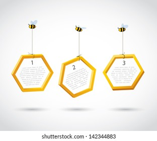 Three bees carry honeycombs - vector background