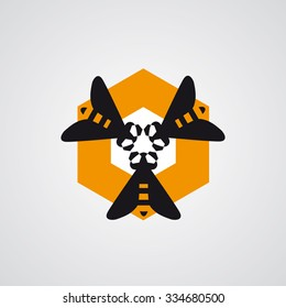 Three bees in the comb - vector logo design - pure honey logo