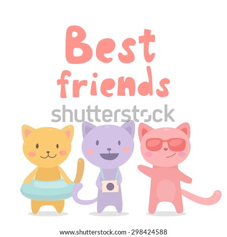 Three Best Friends Cute Cats On Stock Vector Royalty Free