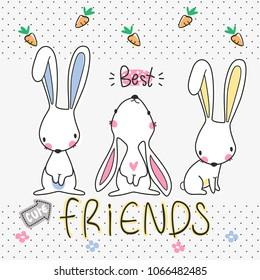 Three best friends, Cute rabbits cartoon on polka dot background illustration vector.