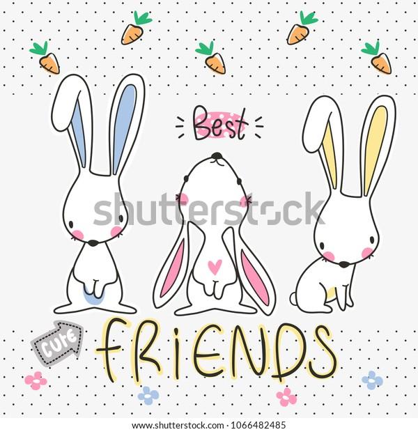 Three Best Friends Cute Rabbits Cartoon Stock Vector Royalty Free