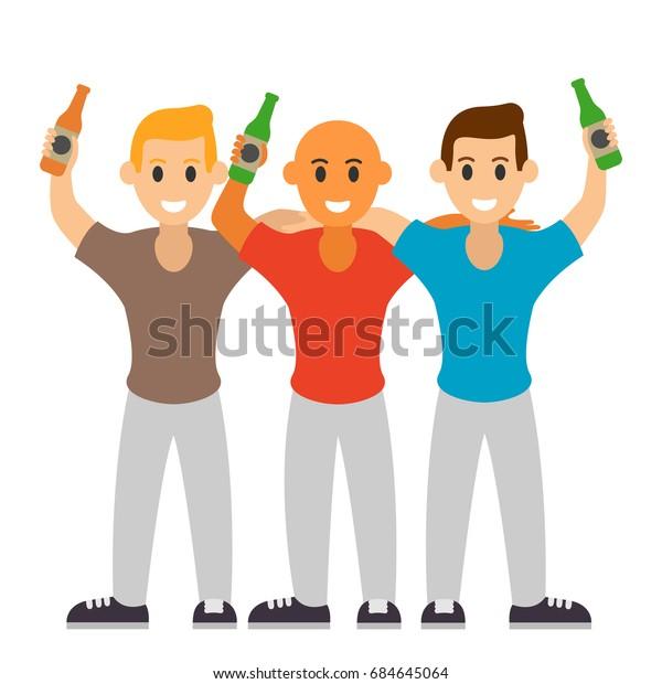 Three Best Friends Drink Beer Friendship Stock Vector Royalty Free 684645064