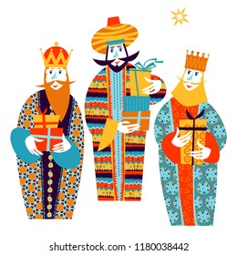 Three biblical Kings: Caspar, Melchior and Balthazar. Three wise men with gift boxes. Vector illustration.