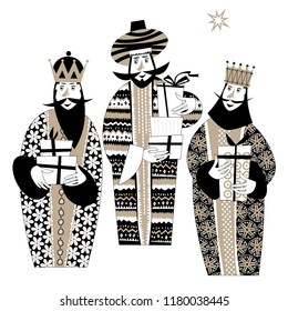 Three biblical Kings: Caspar, Melchior and Balthazar. Three wise men with gift boxes. Black and white. Vector illustration.