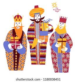 Three biblical Kings: Caspar, Melchior and Balthazar. Three wise men with gift boxes. Feliz dia de reyes! (Happy Three Kings Day!). Vector illustration.