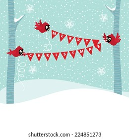 Three birds in the forest are Christmas garland vector illustration
