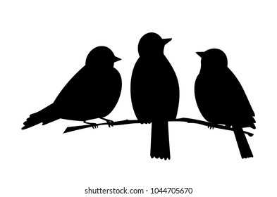 three birds on a branch. black silhouette
