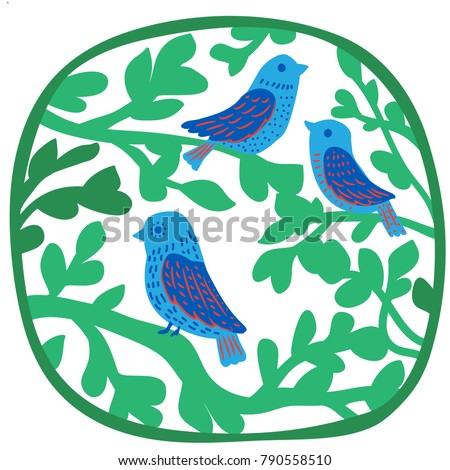 Three Birds On Branches Silk Screen Stock Vector Royalty Free
