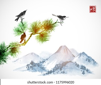 Three birds on pine tree branch and blue mountains on white background. Traditional oriental ink painting sumi-e, u-sin, go-hua.  Hieroglyph - well-being.