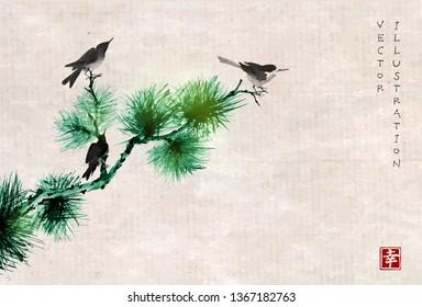Three birds on pine tree branch. Traditional oriental ink painting sumi-e, u-sin, go-hua on vintage background. Hieroglyph - happiness