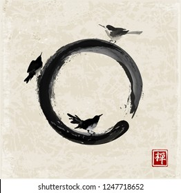 Three black birds and enso zen circle. Traditional Japanese ink painting sumi-e. Hieroglyph - zen