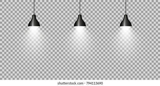 Three black ceiling lamps on transparent background. vector illustration