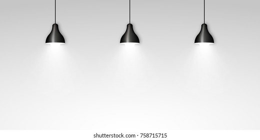 Three black ceiling lamps vector illustration