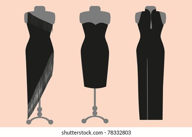 Three black evening or cocktail dresses on mannequins, vector image, isolated