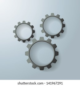 Three black gears on the grey background. Eps 10 vector file.